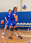 26 October 2014: Yeshiva University Maccabee Libero Shaina Hourizadeh, a Sophomore from Englewood, NJ, in action against the Maritime College Privateers, at the College of Mount Saint Vincent, in Riverdale, NY. The Privateers defeated the Maccabees 3-0 in the NCAA Division III Women's Volleyball Skyline matchup. Mandatory Credit: Ed Wolfstein Photo *** RAW (NEF) Image File Available ***