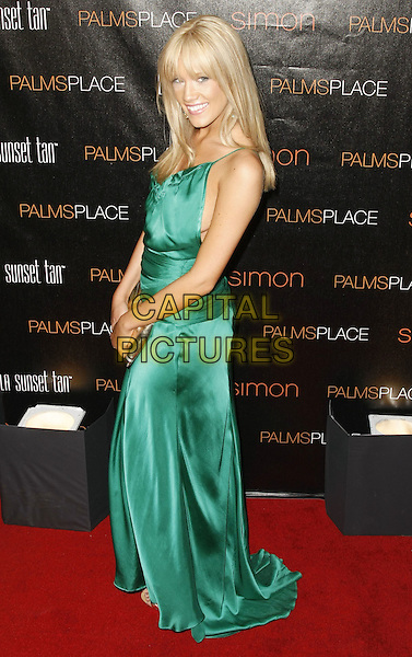 KATIE REES .Palms Place Hotel and Spa Grand Opening, Las Vegas, Nevada, USA, .31 May 2008..full length green dress silk satin  .CAP/ADM/MJT.©MJT/Admedia/Capital Pictures