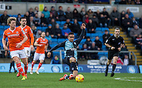 Paris Cowan-Hall of Wycombe Wanderers slides in for the ball during the Sky Bet League 2 match between Wycombe Wanderers and Luton Town at Adams Park, High Wycombe, England on 6 February 2016. Photo by Andy Rowland.