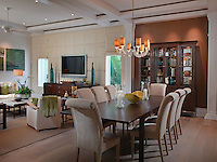 Color blocking visually separates the dining area in the great room.
