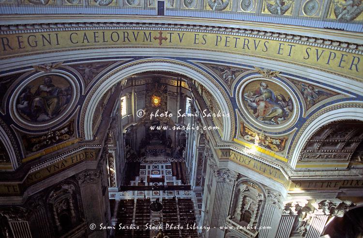 Balcony inside the dome of Saint Peter's Basilica, Vatican City, Rome, Italy.