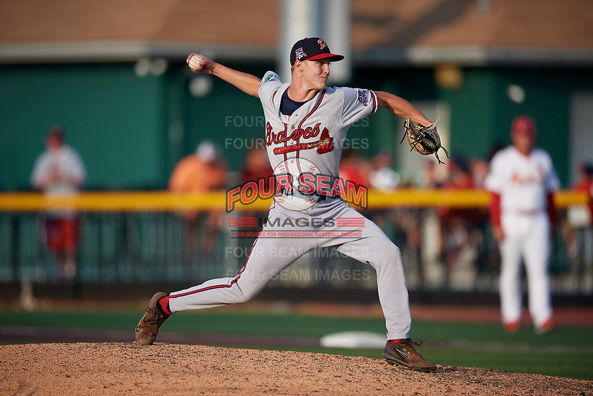 Danville Braves relief pitcher Zach Daniels (48) delivers a pitch during a game against the Johnson City Cardinals on July 29, 2018 at TVA Credit Union Ballpark in Johnson City, Tennessee.  Johnson City defeated Danville 8-1.  (Mike Janes/Four Seam Images)