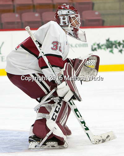 Cameron Gornet (Harvard - 32) - The Harvard University Crimson defeated the visiting Boston College Eagles 5-2 on Friday, November 18, 2016, at the Bright-Landry Hockey Center in Boston, Massachusetts.