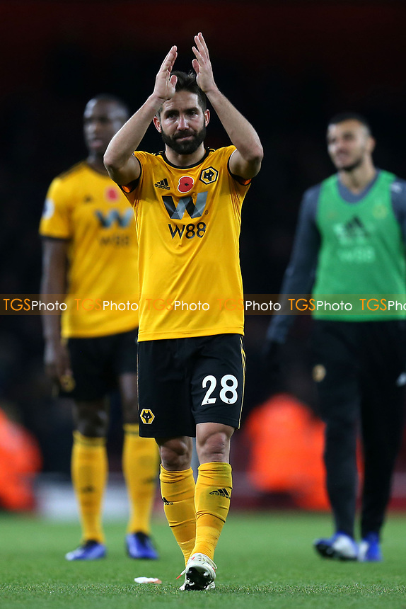 Joao Moutinho of Wolves applauds the Wolves fans after Arsenal vs Wolverhampton Wanderers, Premier League Football at the Emirates Stadium on 11th November 2018