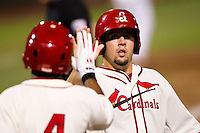 Zack Cox (7) of the Springfield Cardinals heads to the dugout after scoring during a game against the Northwest Arkansas Naturals and the Springfield Cardinals at Hammons Field on July 30, 2011 in Springfield, Missouri. Springfield defeated Northwest Arkansas 11-5. (David Welker / Four Seam Images)