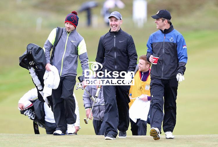 27 May 2015; Paddy Wallace and James Nesbitt playing the 9th<br /> <br /> Dubai Duty Free Irish Open Golf Championship 2015, Pro-Am. Royal County Down Golf Club, Co. Down. Picture credit: John Dickson / DICKSONDIGITAL