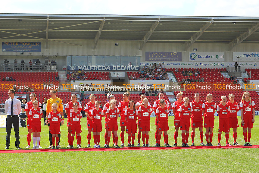 Bristol Academy players line-up ahead of kick-off - Arsenal Ladies vs Bristol Academy - FA Womens Cup Final at the Keepmoat Stadium, Doncaster Rovers FC - 26/05/13 - MANDATORY CREDIT: Gavin Ellis/TGSPHOTO - Self billing applies where appropriate - 0845 094 6026 - contact@tgsphoto.co.uk - NO UNPAID USE.