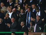 Noel Gallagher enjoys the banter as the Tannoy plays an Oasis track at the end of the match during the Champions League Group C match at the Celtic Park Stadium, Glasgow. Picture date: September 28th, 2016. Pic Simon Bellis/Sportimage