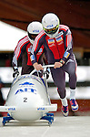 19 November 2005: Pierre Lueders pilots the Canada 1 sled to a 4th place finish at the 2005 FIBT AIT World Cup Men's 2-Man Bobsleigh Tour at the Verizon Sports Complex, in Lake Placid, NY. Mandatory Photo Credit: Ed Wolfstein.