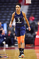 Washington, DC - June 3, 2018: Connecticut Sun guard Jasmine Thomas (5) gets back on defense during game between the Washington Mystics and Connecticut Sun at the Capital One Arena in Washington, DC. (Photo by Phil Peters/Media Images International)