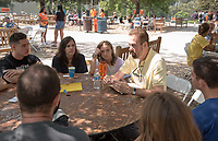 Robert Ellis, Norman Bridge Distinguished Professor of Spanish, Spanish and French Studies. Individual faculty advising appointments in the Academic Quad for incoming first-years at the start of Occidental College's Fall Orientation for the class of 2021, Aug. 25, 2017.<br /> (Photo by Marc Campos, Occidental College Photographer)