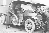 BNPS.co.uk (01202 558833)<br /> Pic: Pen&Sword/BNPS<br /> <br /> PICTURED: Muriel Thompson CG (left) with F.A.N.Y. drivers.<br /> <br /> These inspiring photos of nurses on the front line feature in a new book which charts a century's heroic wartime service.<br /> <br /> The First Aid Nursing Yeomanry (FANY) was founded in 1907 by Captain Edward Baker with the early recruits trained in cavalry, signalling and camping.<br /> <br /> They were despatched to France at the outset for World War One to tend to injured troops on the battlefield, setting up hospitals for the many casualties. Other heroines dragged wounded personnel from exploding ammunition dumps.<br /> <br /> The brave nurses were again in the centre of the action in World War Two, performing sterling work in the harshest of conditions.<br /> <br /> Their stories feature in The First Aid Nursing Yeomanry in War and Peace, by Hugh Popham.