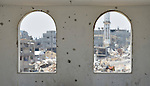 Windows in Shejaiya, a neighborhood of Gaza City that was hard hit by the Israeli military during the 2014 war.