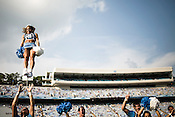 August 30, 2008. Chapel Hill, NC..  In the opening game of the season, the UNC Tarheels beat McNeese State 35- 27 in a game delayed by foul weather.. The cheerleaders perform for the crowd.