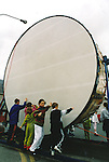 The ESB Millennium Drum dwarfs all at the Fleadh Nua parade - June 4, 1999. Photograph by John Kelly