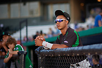 Dayton Dragons Miles Gordon (5) before a Midwest League game against the Kane County Cougars on July 20, 2019 at Northwestern Medicine Field in Geneva, Illinois.  Dayton defeated Kane County 1-0.  (Mike Janes/Four Seam Images)