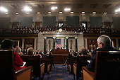 Wide shot from the center isle of the United States House of Representatives chamber as United States President George W. Bush delivers his State of the Union Address to a Joint Session of Congress in the Capitol in Washington, D.C. on February 2, 2005.  United States Vice President Dick Cheney, left, and the Speaker of the United States House of Representatives J. Dennis Hastert (Republican from the 14th District of Illinois), right, listen from behind.<br /> Credit: Luke Frazza / Pool via CNP