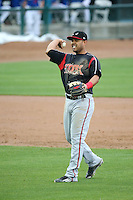 Fernandez Perez (13) of the Lake Elsinore Storm makes a throw during a game against the Rancho Cucamonga Quakes at LoanMart Field on April 10, 2016 in Rancho Cucamonga, California. Lake Elsinore defeated Rancho Cucamonga, 7-6. (Larry Goren/Four Seam Images)