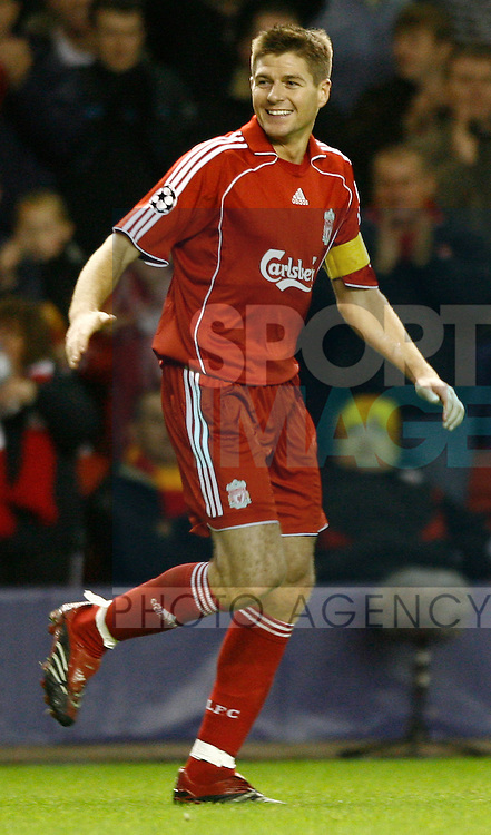 Liverpool's Steven Gerrard celebrates scoring