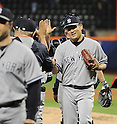 Masahiro Tanaka (Yankees),<br /> MAY 14, 2014 - MLB :<br /> Pitcher Masahiro Tanaka of the New York Yankees shakes hands with coaches after the Major League Baseball game against the New York Mets at Citi Field in Flushing, New York, United States. He posted his sixth win of the season with his first shutout in the MLB. (Photo by AFLO)