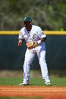 Eastern Michigan Eagles shortstop Marquise Gill (4) during a game against the Dartmouth Big Green on February 25, 2017 at North Charlotte Regional Park in Port Charlotte, Florida.  Dartmouth defeated Eastern Michigan 8-4.  (Mike Janes/Four Seam Images)