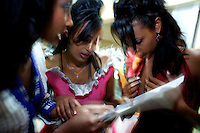 Contenders for the crown rehearse answers to general knowledge questions that will be asked by the jury during the 2009 MIss Ethiopia beauty pageant held at the Intercontinental Hotel in Ethiopia's Capital Addis Ababa on Sunday January 18 2009.