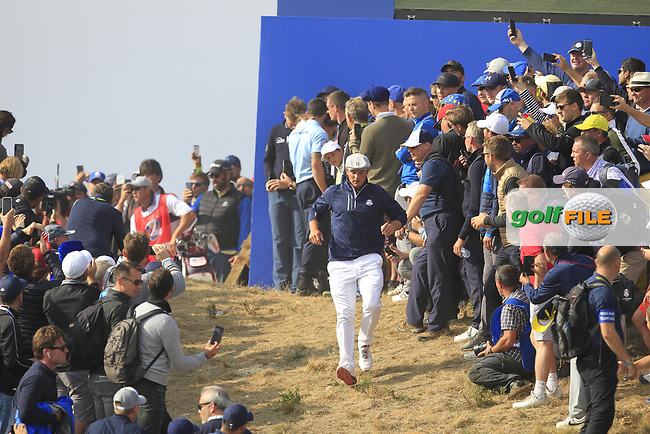 Bryson DeChambeau (Team USA) on the 7th during the Friday Foursomes at the Ryder Cup, Le Golf National, Ile-de-France, France. 28/09/2018.<br /> Picture Thos Caffrey / Golffile.ie<br /> <br /> All photo usage must carry mandatory copyright credit (© Golffile | Thos Caffrey)