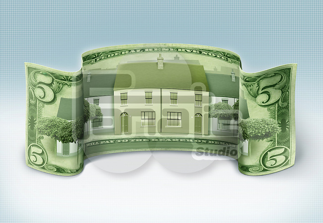 Illustrative image of house printed on banknote representing real estate business