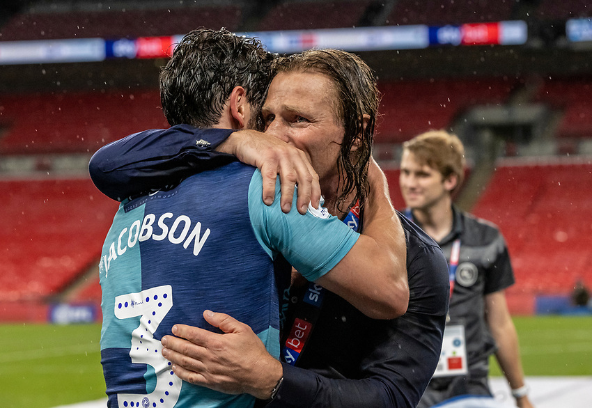 Wycombe Wanderers' manager Gareth Ainsworth (right) celebrates with goalscorer Joe Jacobson   <br /> <br /> Photographer Andrew Kearns/CameraSport<br /> <br /> Sky Bet League One Play Off Final - Oxford United v Wycombe Wanderers - Monday July 13th 2020 - Wembley Stadium - London<br /> <br /> World Copyright © 2020 CameraSport. All rights reserved. 43 Linden Ave. Countesthorpe. Leicester. England. LE8 5PG - Tel: +44 (0) 116 277 4147 - admin@camerasport.com - www.camerasport.com