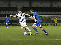 Kenny McLean closed down by Gary Warren in the St Mirren v Inverness Caledonian Thistle Clydesdale Bank Scottish Premier League match played at St Mirren Park, Paisley on 30.1.13.