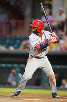 Harrisburg Senators outfielder Brian Goodwin #23 at bat during a game against the Erie Seawolves on July 2, 2013 at Jerry Uht Park in Erie, Pennsylvania.  Erie defeated Harrisburg 2-1.  (Mike Janes/Four Seam Images)