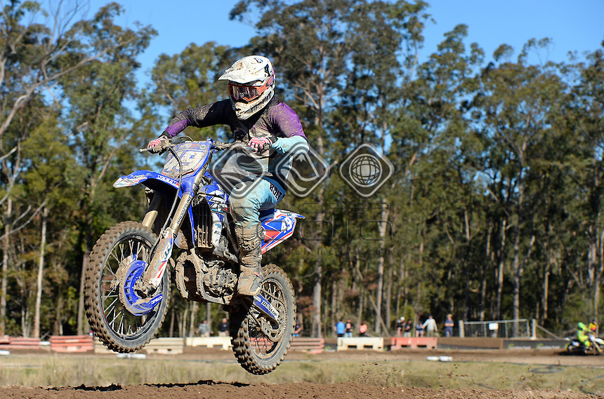 Brodie Ravenhorst / Yamaha<br /> MX Nationals / Round 6 / MXD<br /> Australian Motocross Championships<br /> Raymond Terrace NSW<br /> Sunday 5 July 2015<br /> &copy; Sport the library / Jeff Crow