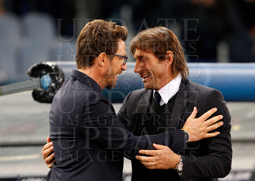 Roma s coach Eusebio Di Francesco, left, greets Chelsea coach Antonio Conte prior to the start of the Champions League Group C soccer match between Roma and Chelsea at Rome's Olympic stadium, October 31, 2017.<br /> UPDATE IMAGES PRESS/Riccardo De Luca