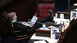 Nevada Sen. Tick Segerblom, D-Las Vegas, works during a break on the Senate floor during a special session at the Nevada Legislature in Carson City, Nev. on Tuesday, Oct. 11, 2016. <br /> Photo by Cathleen Allison