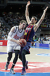 Real Madrid's Andres Nocioni (l) and FC Barcelona's Bostjan Nachbar during Liga Endesa ACB 2nd Final Match.June 21,2015. (ALTERPHOTOS/Acero)