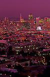 Downtown San Francisco illuminated at night from Corona Heights Park, San Francisco, California USA