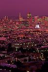 Downtown San Francisco illuminated at night from Corona Heights Park, San Francisco, California USA