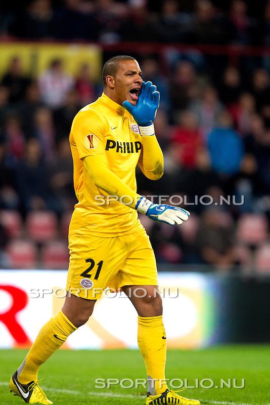 Nederland, Amsterdam, 4 oktober  2012.Seizoen 2012-2013.EuropaLeague.PSV-Napoli.Boy Waterman, keeper (doelman) van PSV in actie