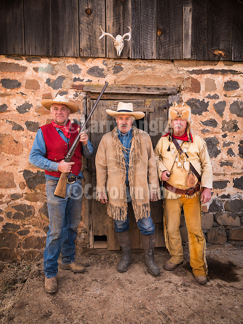 Mountain men in period dress, Days of '49 wagon train at the Oneto Ranch, Amador County, Calif.<br /> <br /> Diamond Jubilee commemoration of the founding of Amador County in 1854