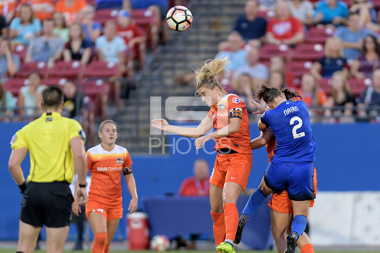 Frisco, TX - Sunday September 03, 2017: Kristie Mewis and Christine Nairn during a regular season National Women's Soccer League (NWSL) match between the Houston Dash and the Seattle Reign FC at Toyota Stadium in Frisco Texas. The match was moved to Toyota Stadium in Frisco Texas due to Hurricane Harvey hitting Houston Texas.