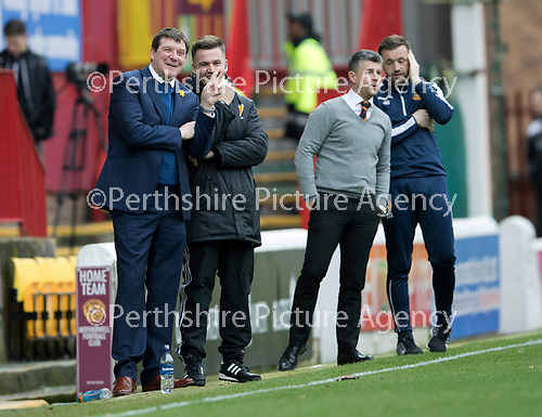 Motherwell v St Johnstone…18.03.17     SPFL    Fir Park<br />Tommy Wright has a laugh with fourth official Grant Irvine<br />Picture by Graeme Hart.<br />Copyright Perthshire Picture Agency<br />Tel: 01738 623350  Mobile: 07990 594431