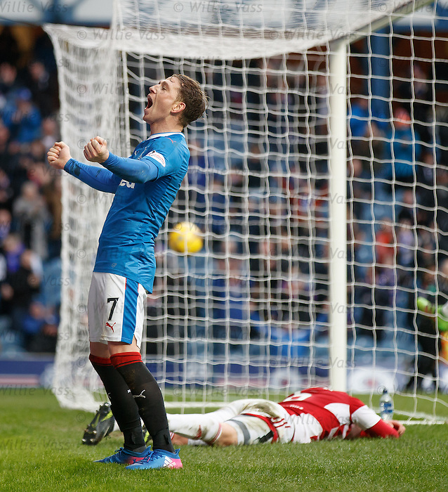 Joe Garner roars after scoring his second goal of the match