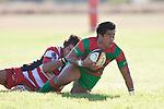 Jamie Gilbert-Clark pulls Notise Tauafoa to ground. Counties Manukau Premier Club Rugby game bewtween Waiuk & Karaka played at Waiuku on Saturday April 11th, 2010..Karaka won the game 24 - 22 after leading 21 - 9 at halftime.