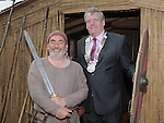 Chairperson Louth County Council Finan McCoy and Chairperson of the Magnus Viking Association Philip Campbell at the Annagassan Viking Festival. Photo: Colin Bell/pressphotos.ie