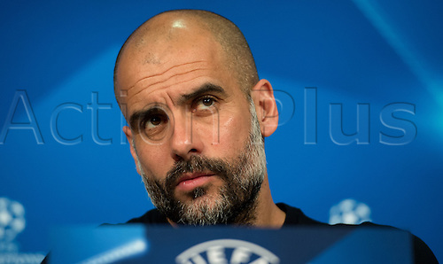 04.04.2016. Munich, Germany.   Coach Pep Guardiola of German Bundesliga team FC Bayern Munich speaking at a final press conference at Allianz Arena in Munich, Germany, 4 April 2016. Bayern Munich meets Sport Lisbon Benfica (S.L. Benfica) in the first leg match of the Champions League quarter finals on 5th April 2016.