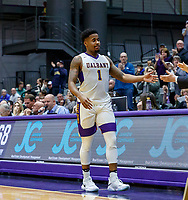 University at Albany men's basketball defeats Binghamton University 71-54  at the  SEFCU Arena, Feb. 27, 2018. Senior Costa Anderson leaves the court on Senior Night. (Bruce Dudek / Cal Sport Media/Eclipse Sportswire)