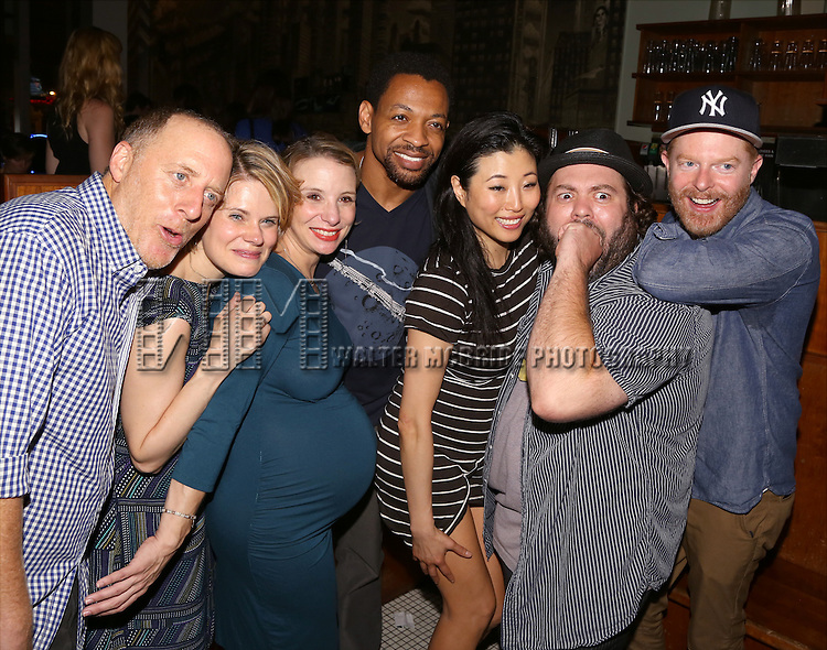 Jay Reiss, Celia Keenan-Bolger, Sarah Saltzberg, Derrick Baskin, Deborah S. Craig, Dan Folger and Jesse Tyler Ferguson attend the After Party for the One Night Only 10th Anniversary Concert of 'The 25th Annual Putnam County Spelling Bee' at Town Hall on July 6, 2015 in New York City.