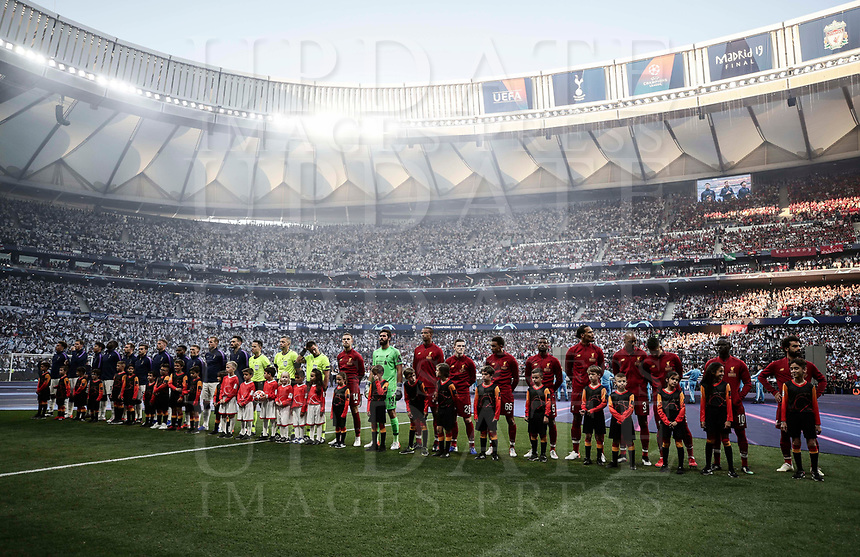 Tottenham Hotspur and Liverpool players line up before the start of their UEFA Champions League final football match at Madrid's Wanda Metropolitano Stadium, Spain, June 1, 2019.<br /> UPDATE IMAGES PRESS/Isabella Bonotto