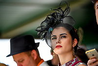 LOUISVILLE, KY - MAY 06: A woman wears a fascinator on Kentucky Derby Day at Churchill Downs on May 6, 2017 in Louisville, Kentucky. (Photo by Scott Serio/Eclipse Sportswire/Getty Images)