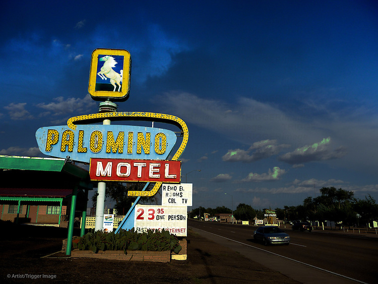 Vintage neon signage in USA for motel